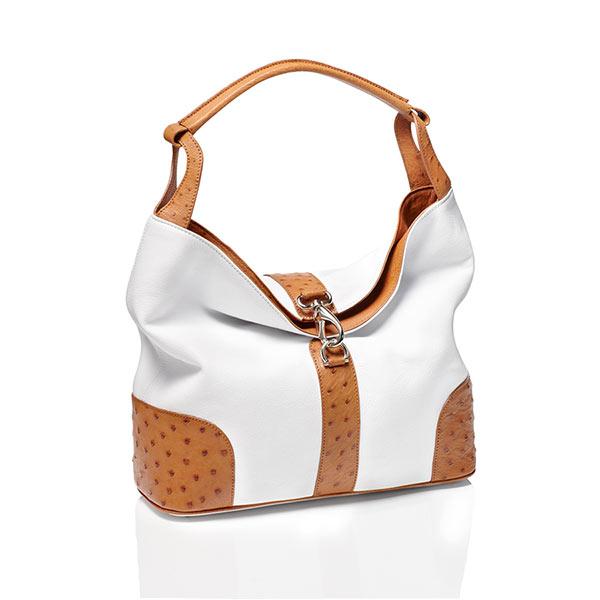 """Straußenleder Handtasche Kabo Summer Bag """"Cognac"""""""