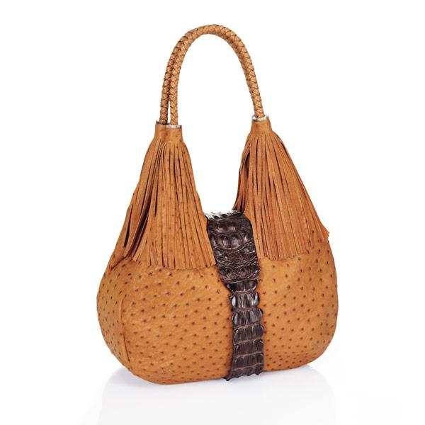 Straußenleder Designer Handtasche Kabo Fancy Bag Cognac