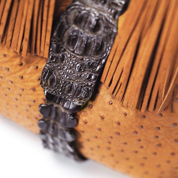 Straußenleder Handtasche Kabo Fancy Bag Cognac, Detail