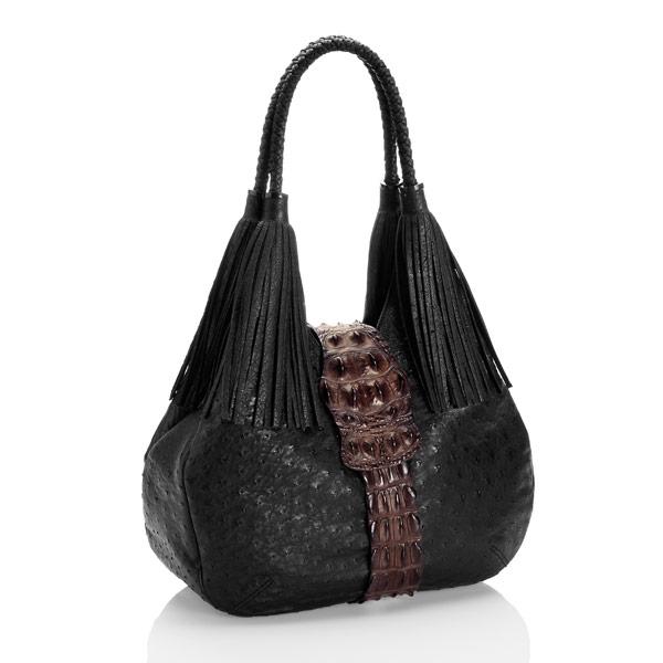 Straußenleder Handtasche Kabo Fancy Bag Espresso