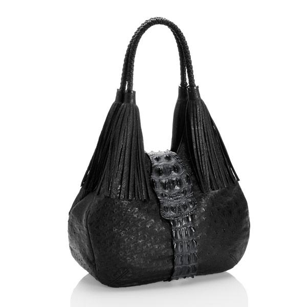 Straußenleder Handtasche Kabo Fancy Bag Schwarz